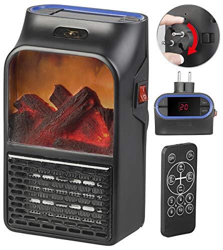 Sichler Haushaltsgeräte Mini Heizlüfter: Steckdosen-Heizlüfter mit Kaminfeuer-Effekt und Fernbedienung, 500 W (Mini Ofen)