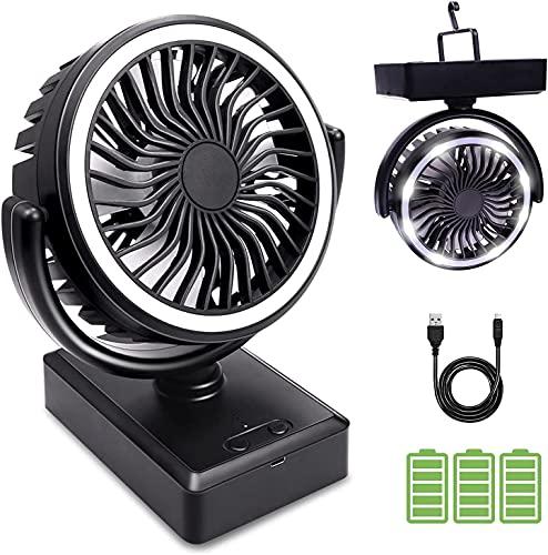 Mini USB Tischventilator, camping ventilator, LIADD Ventilator mit Akku 6000mAh, tischventilator led lichter, Fan 3 Stufen tragbare leise Powerbank Lüfter für Haus, Büro oder im Freien, Zelt