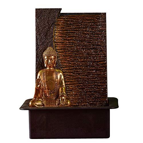 Zen Light – Zimmerbrunnen Buddha Jati – originelle Geschenkidee – Objekt Feng Shui und Wohlbefinden – Beleuchtung Brunnen LED warmweiß – Wasserwand – L 22 x B 30 x H 40 cm braun Einheitsgröße