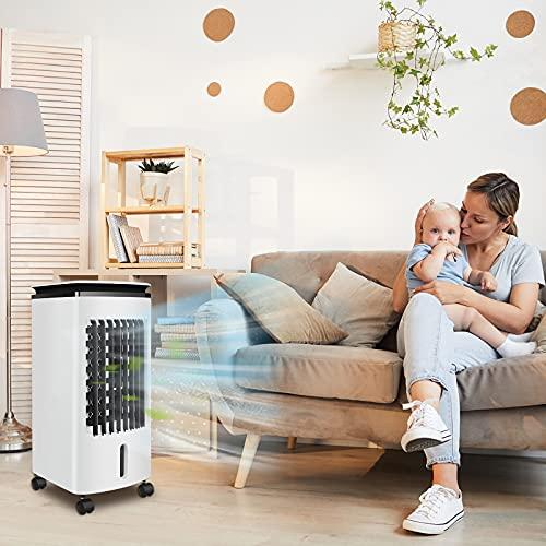 LARS360 Mobiles Klimagerät 3 in 1 mit 4L Wasserkühlung, LED Display, 4x Eiskristall 80W Klimaanlage Luftreiniger Luftbefeuchter Luftkühler Luftkühler Aircooler Ventilator für Wohnung & Büro