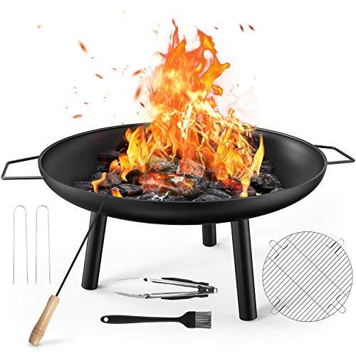 Gifort Feuerschale, 2 In 1 Große Multifunktional Fire Pit mit BBQ Grill & Schürhaken, Tragbar Feuerkorb Feuerstelle für Garten Terrasse Outdoor Camping