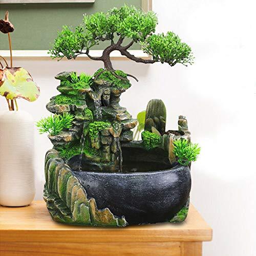 TFCFL Zimmerbrunnen Grüne Pflanze Brunnen Gartenbrunnen Springbrunnen Led Beleuchtung Outdoor Brunnen Wasserfall Dekoration (kein Nebel)