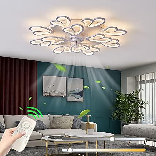 Leise Deckenventilator Mit Beleuchtung Mit Fernbedienung LED Dimmbar Ventilator Deckenleuchte Modern Unsichtbare Fan Deckenbeleuchtung Mit Lampe Schlafzimmer Küche Esszimmer Lüfter Deckenlampe,D