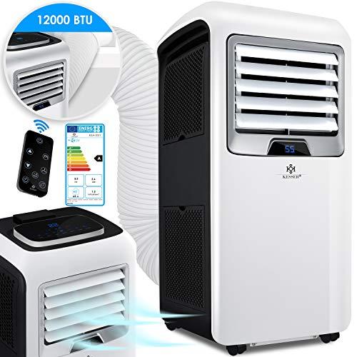 KESSER® - Klimaanlage Mobiles Klimagerät 4in1 kühlen, Luftentfeuchter, lüften, Ventilator - 12.000 BTU/h (3.500 Watt) 3,5 KW Klima + Montagematerial Fernbedienung und Timer Nachtmodus EEK: A