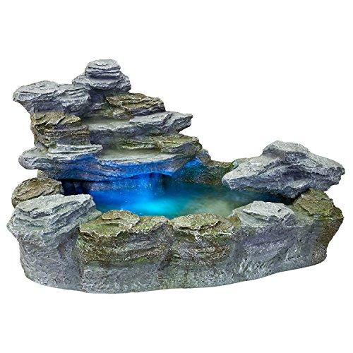 STILISTA Mystischer Gartenbrunnen Olymp Brunnen in Steinoptik 100x80x60cm groß Springbrunnen inkl. Pumpe und LED- Beleuchtung rot blau gelb grün