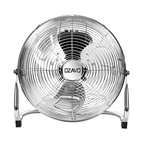 OZAVO Standventilator, Windmaschine ⌀36/48/54 cm mit 3 Laufgeschwindigkeiten, Bodenventilator Power, Tischventilator Metall, Luftkühler, verstellbare Neigungswinkel, 40/90/100 W (⌀36cm)