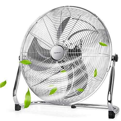 Aigostar Standventilator, Windmaschine mit 135° Neigbarerem Ventilator Kopf, 45cm Lüfter, 100W Bodenventilator, Industrieventilator Metall Tisch Ventilator Floor Fan