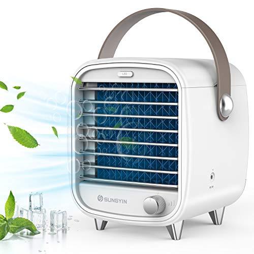 Mini Aircooler Persönlicher tragbarer Mini-Klimaanlagenkühler, Schlafzimmerventilator, Sicherheit und Energieeinsparung, großer Wassertank, IED-Lampe (Weiß)