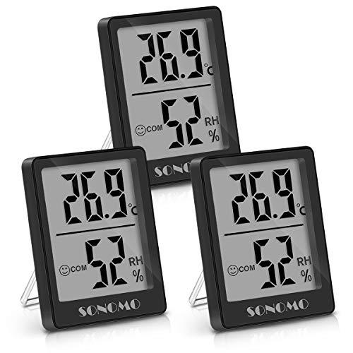 Sonomo Thermo-Hygrometer, 3er Set Hygrometer Innen Thermometer Digital Raumthermometer Luftfeuchtigkeitsmessgerät für Innenraum, Wohnzimmer, Babyraum, Büro (Schwarz)