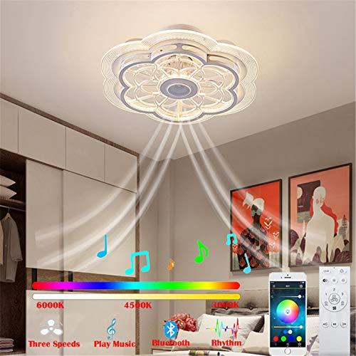Bluetooth Ventilator Deckenleuchte mit Fernbedienung und Musik Lautsprecher Leise Deckenventilator mit Beleuchtung 96W LED Fernbedienung Dimmbar Kinderzimmer Unsichtbares Fan Deckenlampe, Ø50cm