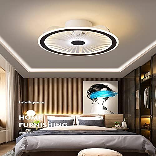 WRQING Deckenventilator mit Beleuchtung, Led Deckenleuchte Dimmbar Leise Fernbedienung Licht APP-Steuerung Fan Schlafzimmer Deckenlampe Moderne Ventilator Deckenlicht (Color : Black and White)