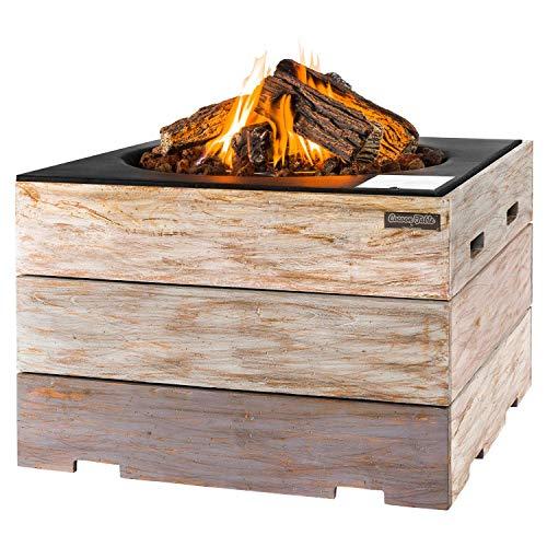 M A N I A Feuertisch für den Garten - Gas Feuerstelle ohne Rauch, Funken, Glut & Asche - Gaskamin Outdoor mit 19,5 kW Nice & Nasty grau 76 x 76 x 46 cm - Gasfeuerstelle Terrassenkamin Kaminfeuer