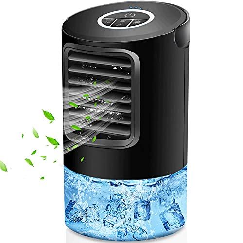 Mobiles Klimagerät Verdampfungskühler Tragbare Klimaanlage Lüfter, Personal Fan Desk Fan Space Air Cooler Tischventilator Luftzirkulator Ultra-Ruhigreiniger Kühllüfter mit Griff und 7 Farben LED-Licht