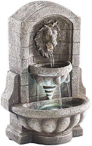 infactory Wasserbrunnen: Beleuchteter Zimmerbrunnen Löwenkopf mit LED und Pumpe (Leuchtende Zimmerbrunnen)