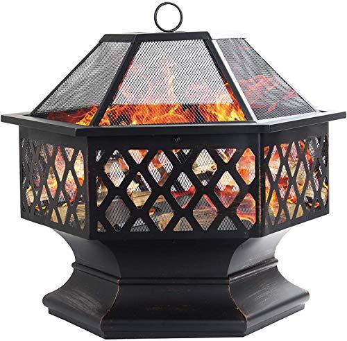 Dawoo Feuerschale für den Außenbereich, sechseckiger Feuerkorb Garten feuerschale,feuerstelle (60.5x70x62.5cm)