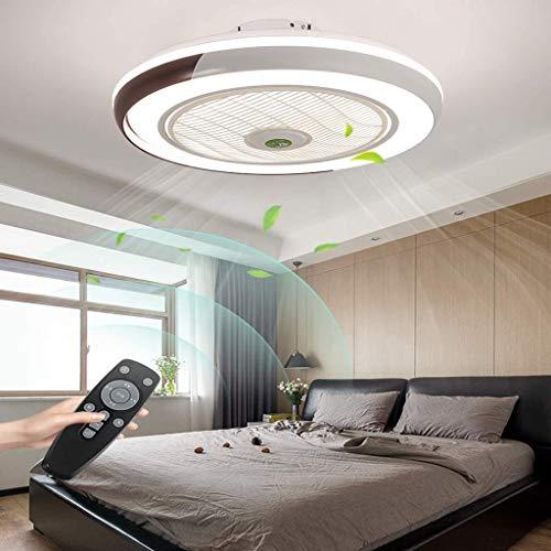 LED Deckenventilator Mit Lampe Moderne Invisible Fan Deckenleuchte Ultra-Leise Deckenventilator Mit Beleuchtung Esszimmer Schlafzimmer Wohnzimmer LED Dimmbar Deckenlampe Mit Fernbedienung Ø50CM,Braun