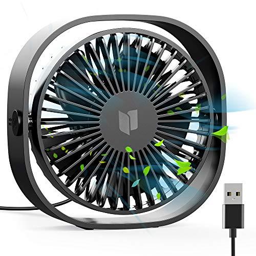 RATEL Mini USB Tischventilator,12,5 cm Mini-Schreibtisch Ventilator mit 1,2 Meter langem Kabel, tragbar und persönlich für Zuhause und Büro - Ruhig und kraftvoll, Schwarz