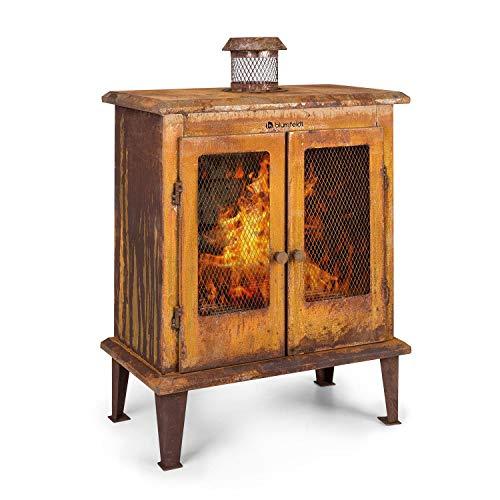 Blumfeldt Flame Locker Feuerstelle Gartenkamin Terrassenofen, rustik: Rostlook, Feuerschale: 58x30 cm, FireView, massive & stabile Konstruktion aus Stahl, rostbraun