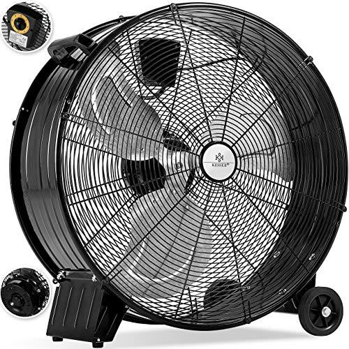 KESSER® KE-60 Industrie Ventilator Trommelventilator | Windmaschine | Bodenventilator | Hallenlüfter | Ø60 cm | (24') Trommelgebläse | Industrieventilator | Standventilator | Hallenkühlung 160 Watt