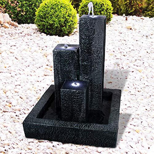 Gartenbrunnen Brunnen Zierbrunnen Zimmerbrunnen Springbrunnen Brunnen mit LED-Licht TRIO-BASALT-230V Wasserfall Wasserspiel für Garten, Gartenteich