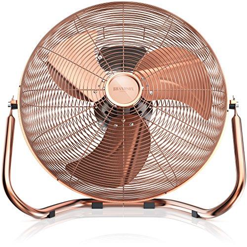 Brandson - Windmaschine Retro Stil 160 Watt - Ventilator in Kupfer Design - Standventilator 50 cm - Bodenventilator - hoher Luftdurchsatz - stufenlos neigbarer Ventilatorkopf - GS Geprüfte Sicherheit