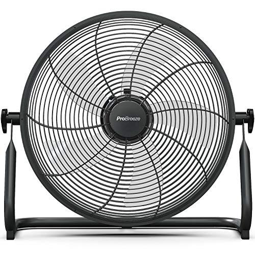 Pro Breeze 40cm Bodenventilator mit Akku - Kabelloser Betrieb mit 3 bis 24 Stunden Laufzeit, neigbarer Ventilatorkopf, leicht und tragbar für Gebrauch im Büro, Haus oder Garten