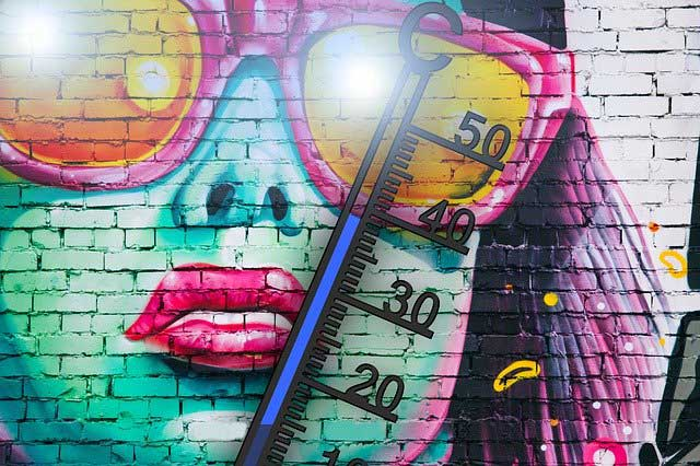 Thermometer vor Graffity Wand